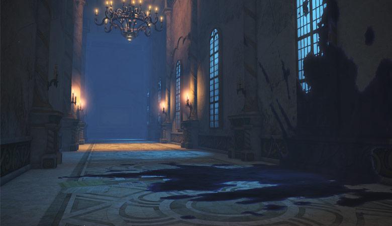 壁と床に広がるシミ