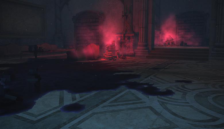 赤い本と床のシミ
