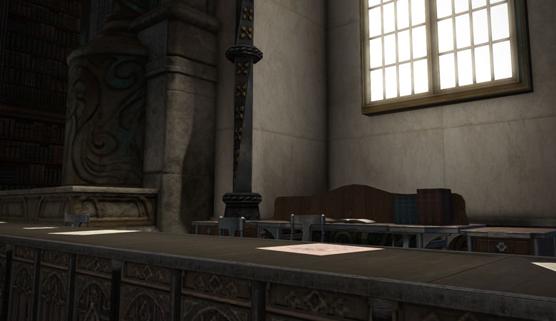 司書長の机と椅子