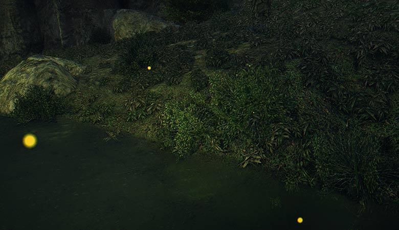 川沿いの蛍たち
