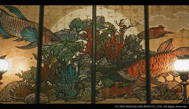 巨大魚の襖絵
